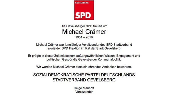 Traueranzeige Michael Crämer