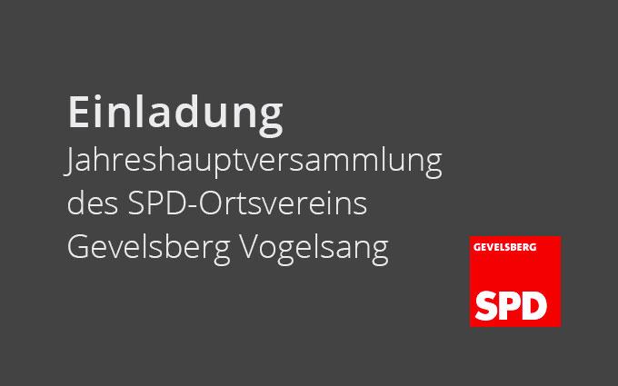 Einladung Zur Jahreshauptversammlung Des SPD-Ortsvereins Gevelsberg Vogelsang