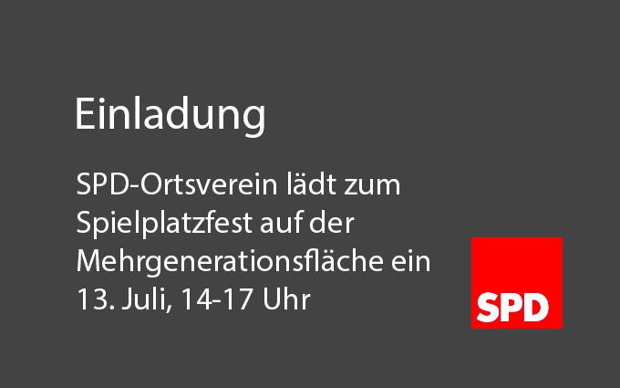 SPD-Ortsverein Lädt Zum Spielplatzfest Auf Der Mehrgenerationsfläche Ein